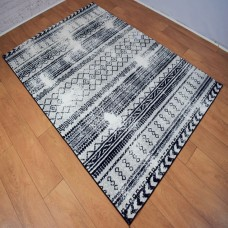 Distressed Tribal Black and White Area Rug
