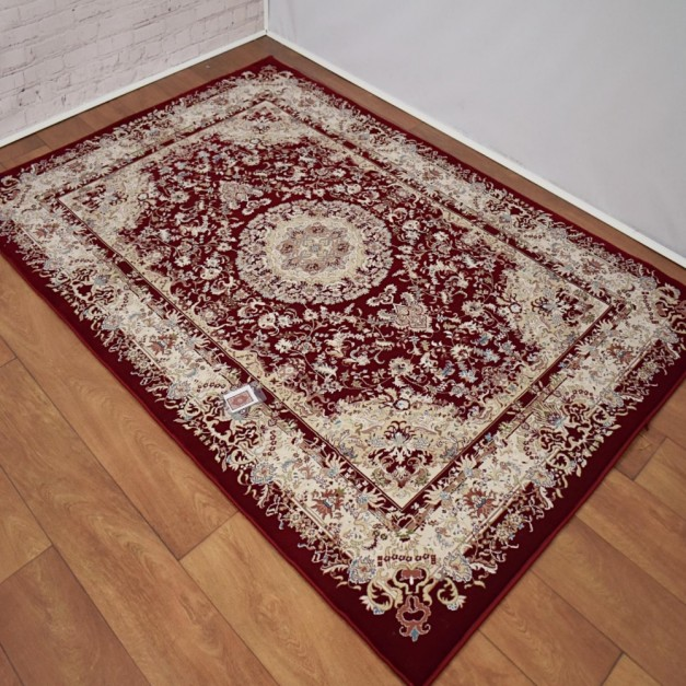 Classic Traditional Patterned Dark Red/Ivory Rug