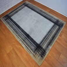 Modern Border Beige and Grey Area Rug