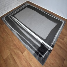Modern Border Dark Grey and Black Area Rug