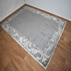 Traditional Border Grey and Beige Area Rug