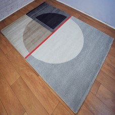 Modern Shapes Grey and Red Area Rug
