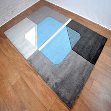 Modern Shapes Grey and Blue Area Rug