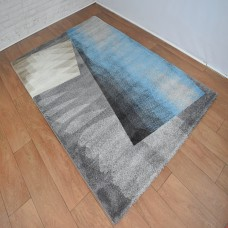 Modern Shapes Dark Grey & Blue Area Rug