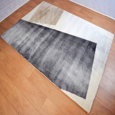 Modern Shapes Cream and Dark Grey Area Rug