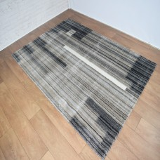 Modern Lines Dark Grey and Gold Area Rug
