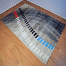 Modern Abstract Shapes Gold and Blue Area Rug
