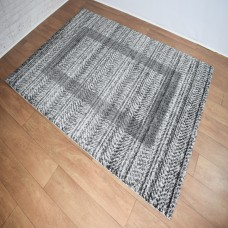 Chevron Lines Grey and Black Area Rug