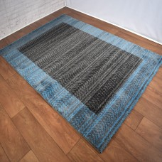 Chevron Lines Boarder Blue and Dark Grey Area Rug