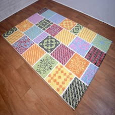 Modern Grid Multi-Coloured Medallion Area Rug