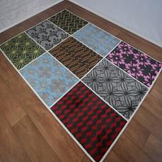 Modern Grid Multi-Coloured Medallion Area Rug