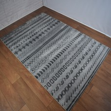 Funky Shapes Pattern Light and Dark Grey Area Rug