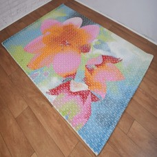 Abstract Large Floral Blue,Pink and White Area Rug