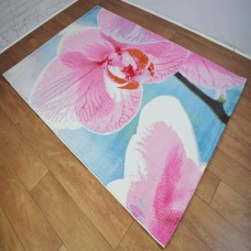 Large Floral Pink and Blue Area Rug
