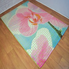 Large Floral Pink and Green Area Rug