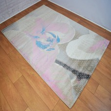Large Floral Beige and Pink Area Rug