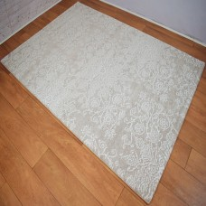 Modern Traditional Floral Silver Grey & White Area Rug