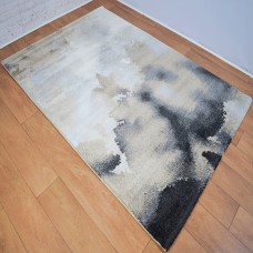 Abstract Blotted Marks Gold and Grey Area Rug