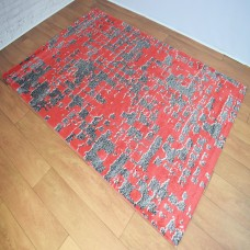 Graphic Modern Dark Grey and Rust Red Area Rug