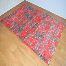 Graphic Modern Red and Dark Grey Area Rug