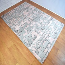 Graphic Modern Grey and Pink Area Rug