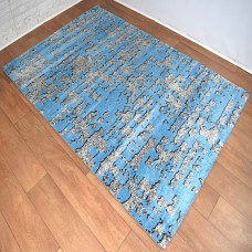 Graphic Modern Blue and Dark Grey Area Rug