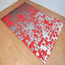 Graphic Modern Red and Black Area Rug