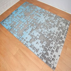 Graphic Modern Dark Grey and Blue Area Rug