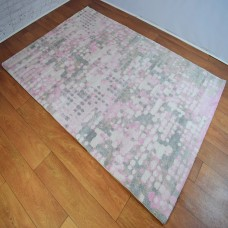Graphic Modern Circle Pink and Grey and Cream Area Rug