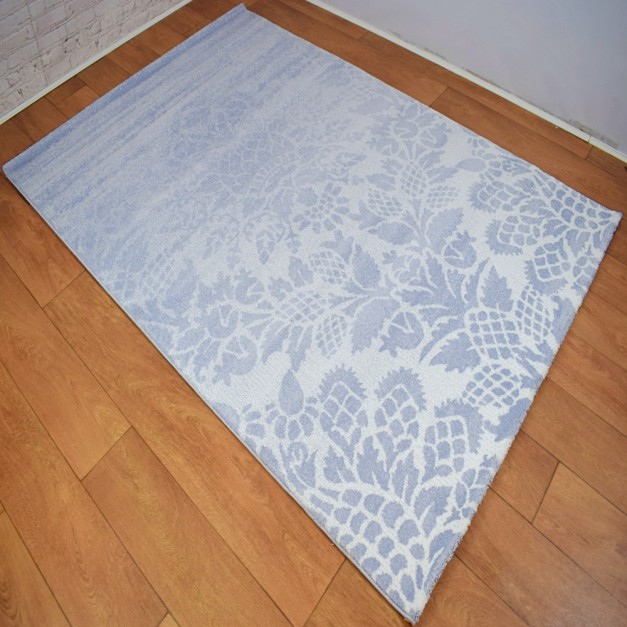 Modern Traditional Large Floral Blue Grey and White Area Rug