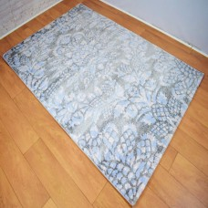 Modern Traditional Large Floral/Thistle Grey and Blue Area Rug