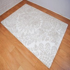 Modern Traditional Large Floral Silver and White Area Rug