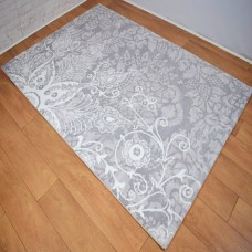 Modern Traditional Large Floral Silver Grey and White Area Rug