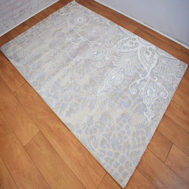 Modern Traditional Large Floral Beige ,White and Silver Grey Area Rug