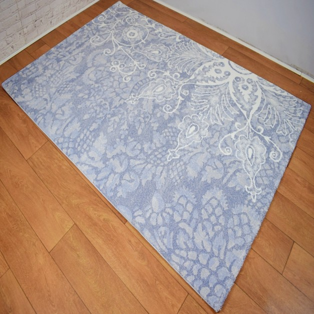 Modern Traditional Large Floral White and Blue Area Rug