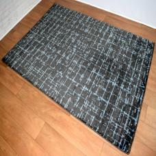 Contemporary Gridlines Blue/Black Area Rug