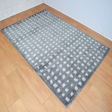 Contemporary Shapes Dark Grey and Blue Area Rug