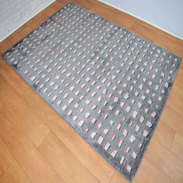 Contemporary Shapes Dark Grey, Light Grey and Red Area Rug