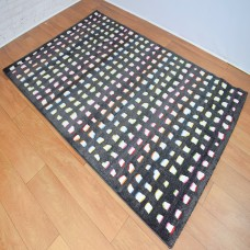 Contemporary Shapes Black and Rainbow Area Rug