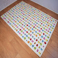 Contemporary Shapes White and Multi-Coloured Area Rug