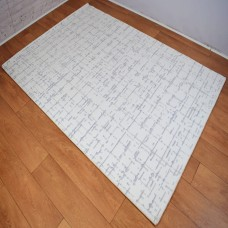 Contemporary Gridlines White and Grey Area Rug