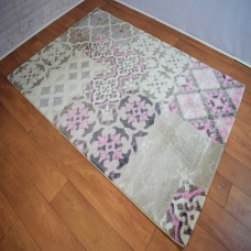 Modern Medallion Cream/Pink Area Rug