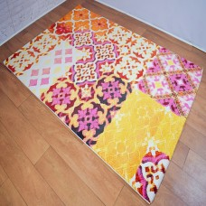 Modern Distressed Medallion Orange and Multi-Coloured Area Rug