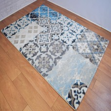 Modern Distressed Medallion Cream,Beige and Blue Area Rug