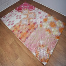 Modern Distressed Medallion Pink and White Area Rug