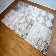 Modern Distressed Medallion Pink and Grey Rug
