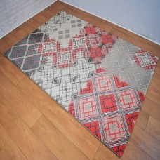 Modern Distressed Medallion Beige, Red and Grey Area Rug