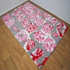 Abstract Floral White Pink and Grey Area Rug