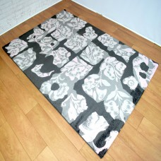Abstract Floral Dark Grey and Pink Area Rug