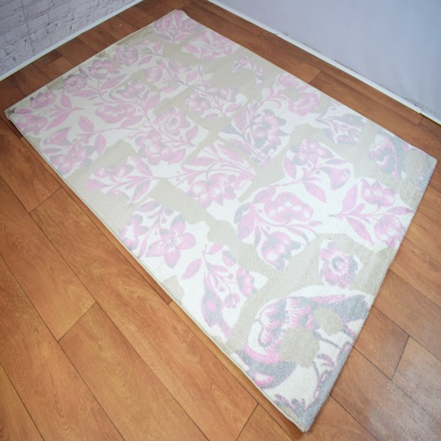 Abstract Floral Cream and Pink Area Rug